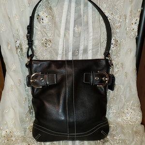 Vintage Coach Black Leather Side Buckle Detail Bag